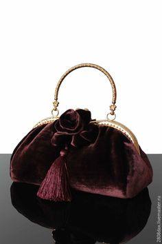Купить Бархатная сумочка, Сумочка коллекционная, брошь, вечерняя сумочка - сумочка, сумочка женская