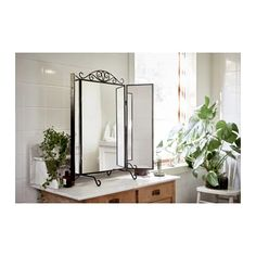 IKEA Karmsund Table Mirror as vanity setup. Could also be paired with IKEA Klimpen Table. Ikea Bedroom, Bedroom Furniture, Interior Ikea, Ikea Portugal, Suite Principal, Storage Boxes With Lids, Wall Brackets, Black Mirror, Yurts