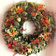 The Autumn Bouquet Wreath & Mantelpiece are handcrafted right here in the USA, and each stem is chosen due to its optimal color and texture