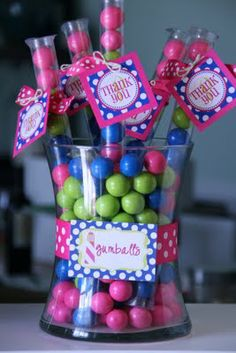 Polka dot pool party gumball favors