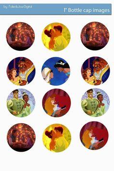 """Folie du Jour Bottle Cap Images: Disney couples 1"""" inch free digital bottle cap images"""