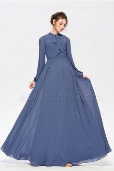 May 2018 - Slate Blue Modest Bridesmaid Dresses Long Sleeves Modest Wedding Gowns, Modest Bridesmaid Dresses, Modest Dresses, Stylish Dresses, Simple Dresses, Chiffon Dress Long, Prom Dresses Long With Sleeves, Lace Dress With Sleeves, Girls Fashion Clothes