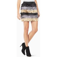 BCBGMAXAZRIA Christal Metallic Fringe Skirt ($130) ❤ liked on Polyvore featuring skirts, black, mesh skirt, metallic skirt, fringe skirts, elastic waist skirt and pull on skirts
