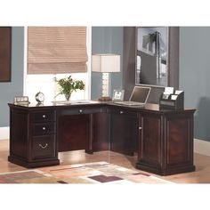 kathy ireland Home by Martin Furniture Fulton Right Hand Facing L-Shaped Executive Desk Executive Desk Set, L Shaped Executive Desk, L Shaped Office Desk, L Shaped Desk, Home Office Desks, Home Office Furniture, White Furniture, Rustic Furniture, Martin Furniture