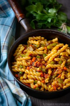 Enjoy this Indian Masala Pasta that is loaded with vegetables and exotic Indian flavors. A perfect quick meal with bold flavors and ready in minutes.