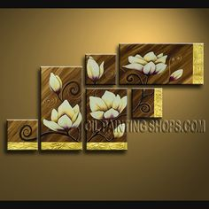 Astonishing Contemporary Wall Art Artist Oil Painting Stretched Ready To Hang Tulip Flower. This 6 panels canvas wall art is hand painted by Flora.Z, instock - $145. To see more, visit OilPaintingShops.com