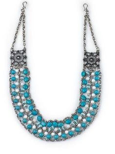 """Savannah Blue- 28.5"""" This bohemian beauty is crafted with antique silver accents and chains set with delicate turquoise and white beads for a necklace that's stunning on its own or layered for a more dramatic look. $68 #savannahblue #yourstylemialisia"""