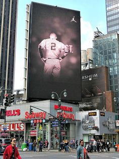 RE2PECT. Electronic billboard honoring Yankees captain Derek Jeter on his retirement from baseball at the end of the 2014 season, at West 34th Street and Seventh Avenue in New York City. September 20, 2014.
