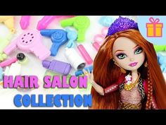 My Doll Hair Salon Collection- Doll Crafts - shampoo,conditioner,spray,scissors,blower,etc - YouTube