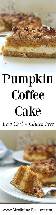 A pumpkin coffee cake that is made with layers of cake, cream cheese and a crumble topping. Baked with coconut flour this is a healthy alternative. paleo dessert with coconut flour Low Carb Sweets, Low Carb Desserts, Gluten Free Desserts, Low Carb Recipes, Diabetic Desserts, Healthy Desserts, Pumpkin Recipes, Cake Recipes, Dessert Recipes