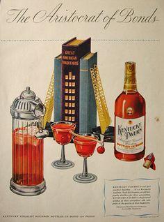 1947 Kentucky Tavern Whiskey Ad ~ Vintage Cocktail Shaker, Vintage Beer & Liquor Ads