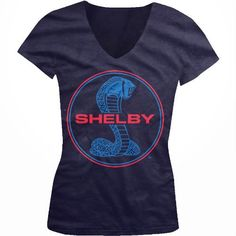 Ford Shelby Cobra Logo Ladies Junior Fit V-neck T-shirt Officially Licensed Ford Motor Company Carroll Shelby Mustang Design Junior's V-Neck Tee, http://www.amazon.com/dp/B00BCPK9P8/ref=cm_sw_r_pi_awd_ltpssb18KP0G5