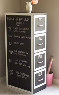 DIY Chalkboard Paint Ideas for Furniture Projects, Home Decor, Kitchen, Bedroom, Signs and Crafts for Teens. | File Cabinet Chalkboard Makeover | http://diyjoy.com/diy-chalkboard-paint-ideas