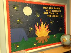 Camping Preschool bulletin board with handprint fireflies with parchment paper painted black for the wings Camping Bulletin Boards, Summer Bulletin Boards, Music Bulletin Boards, Preschool Bulletin Boards, Camping Theme, Camping Crafts, Camping Ideas, Preschool Door, Preschool Crafts