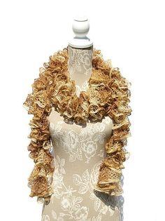 Gold Frilly Scarf Metallic Ruffled Scarf by CraftCreationsbyRose