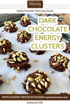 Easy DIY energy bites made with dark chocolate, unsweetened coconut, salted roasted pumpkin seeds, sunflower seeds, and chia seeds. Easy and fast DIY chocolate energy balls provide a delicious pick-me-up. Chocolate Pop Tarts, Chocolate Clusters, Chocolate Bark, Healthy Chocolate, Homemade Chocolate, Chocolate Desserts, Fall Dessert Recipes, Cookie Recipes, Pumpkin Seed Recipes