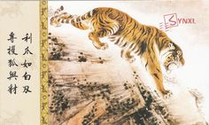 1pcs China Meticulous Tiger Painting Calligraphy Postcard Tiger Roaring #16