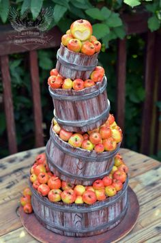Crates of apples cake.