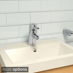 SomerTile 3x6-in Reflections Subway Ice White Glass Tile