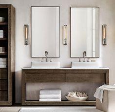 Reclaimed Russian Oak Double Deck-Mount Washstand