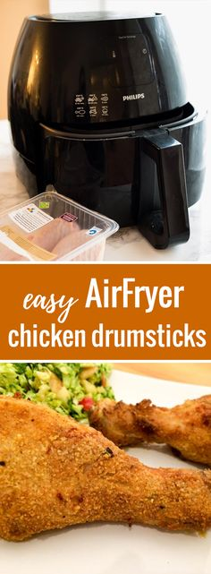 Juicy AirFryer Chicken Drumsticks - made with only cup butter but full of flavor and really easy to make. They're tender and juicy inside and crispy on the outside. * I did not use the butter, instead I sprayed with olive oil pam. Air Fryer Chicken Leg Recipe, Air Fryer Fried Chicken, Chicken Leg Recipes, Air Fried Food, Fried Chicken Legs, Air Frier Recipes, Drumstick Recipes, Beef Curry, Chicken Drumsticks