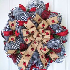 Red and Black Ladybug Deco Mesh Wreath Red by FestivalofWreaths, $95.00