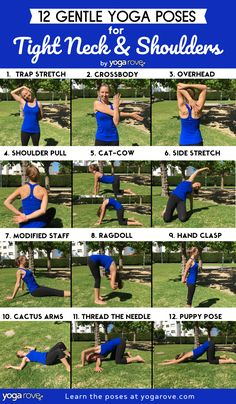 12 Gentle Yoga Poses to Relieve Tight Neck and Shoulders If you have shoulder or neck pain this is the sequence for you! Each one of these poses was recommended to me by the best yoga teacher and they have worked wonders! Yoga Bewegungen, Yoga Flow, Yoga Meditation, Vinyasa Yoga, Yoga Poses For Back, Easy Yoga Poses, Yoga For Back Pain, Yoga Fitness, Physical Fitness