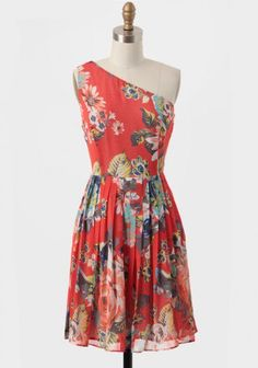 Tropical Coral Floral Sunkiss Half Sleeve Dress