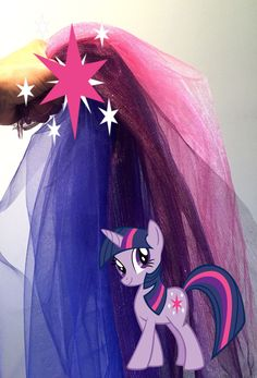 My Little Pony Twilight Sparkle's tail #mylittlepony #twilightsparkle #tulle #DIY #DIYcostume #halloweenDIY #pony #colorful funfabulous #saucyhouse