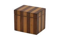 Satinwood and maple striped tea caddy. England, circa 1920