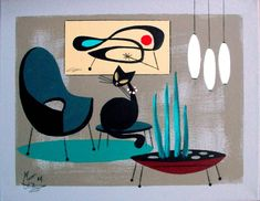 EL GATO GOMEZ PAINTING RETRO 1950S 60S MID CENTURY MODERN EAMES KNOLL CHAIR MOD in Paintings | eBay