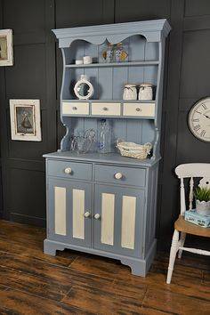 Why not grab some cheerful kitchen storage, with this delightful small kitchen dresser! We've highlighted the door and drawer detail in Valspar Severn Sisters and the main dresser is in Valspar Providence Blue. http://www.thetreasuretrove.co.uk/kitchen-storage/shabby-chic-blue-and-white-small-kitchen-dresser