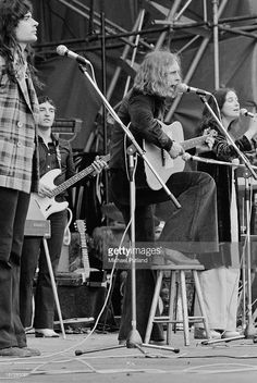 Scottish psychedelic folk group The Incredible String Band performing at the Great Western Express Lincoln Festival, Bardney, Lincolnshire, 28th May 1972. Left to right: Malcolm Le Maistre, Mike Heron, Robin Williamson and Christina 'Licorice' McKechnie.