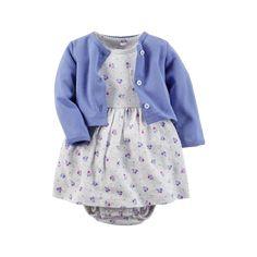 Carter's Baby Girls' 2 Piece Floral Dress Set Cadet/Grey Carter's 2 piece dress and cardigan set. Girls Dress Up, Baby Girl Dresses, Baby Dress, Dress Set, Baby Set, Baby Baby, Carters Baby Girl, Baby Girls, Bodysuit Dress