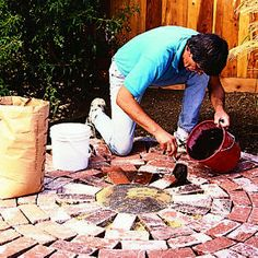 How to build an instant patio - just needs a firepit and chairs and it would be just like Amy & Rob's conversation circle... :)