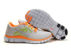 Fake Womens Nike Free Runs 3 Grey Reflect Silver Orange Shoes $41.84