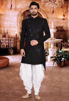 Printed Jute Dhoti Asymmetric Sherwani in Black and Off White Sherwani For Men Wedding, Wedding Dresses Men Indian, Mens Sherwani, Wedding Dress Men, Wedding Men, Indian Men Fashion, Mens Fashion Suits, Boy Fashion, Fashion Ideas
