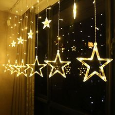 EU LED Star Christmas Garland Curtain Light Fairy String light Outdoor For Party Holiday Wedding New Year 's Decor – Lighting Led Star Lights, Star String Lights, String Lights Outdoor, Light String, Hanging Lights, Wall Lights, Ceiling Lights, Ramadan Decorations, Graduation Decorations