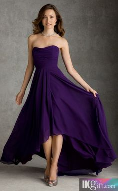 Pretty A-line Strapless Chiffon High Low Length Bridesmaid Dress - Prom Dresses - Special Occasion Dresses - Wedding & Events