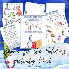 Gnome for the Holidays Activity Pack Holiday Activities, Thank You Notes, Writing Prompts, Gnomes, Your Child, Homeschooling, Have Fun, Love You, Packing