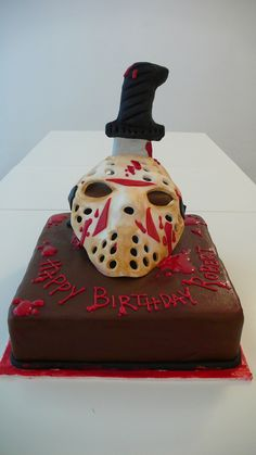 https://flic.kr/p/9Hfxa2 | Friday the 13th Cake | Friday the 13th cake made for a Friday the 13th Birthday Party!  Jason Voorhees  eat you heart out.  Literally.  ;-)  http:/www.cakeamsterdam.com