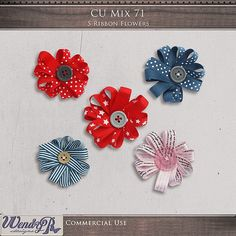 CU Mix 71 - Ribbon Flowers | WendyP Designs