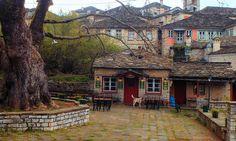 Tavern@Dilofo village_Zagorohoria_Epirus_NW Greece_Apr 2014 Mountain Village, Greece, Scenery, Cabin, House Styles, Places, Photos, Home Decor, Greece Country