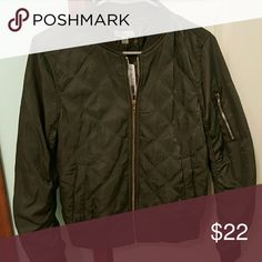 Quilted bomber jacket (olive) Brand new with tags still on. Purchased from forever 21. It's a darker olive color with a gold zipper. Forever 21 Jackets & Coats