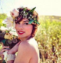 Gorgeous and Unique Wedding Hair Large Floral Garland  www.weddingsunique.com