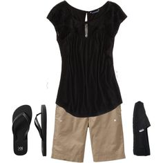 A fashion look from June 2013 featuring lace tee, bermuda shorts and old navy sandals. Browse and shop related looks. Classic Outfits, Short Outfits, Chic Outfits, Summer Outfits, Fashion Outfits, 60 Fashion, Fashion Looks, Womens Fashion, Bermuda Shorts Outfit