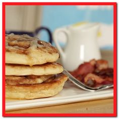 Cinnamon Roll Pancake Recipe I'm Topsy Turvy. Cinnamon Roll Pancakes The Recipe Critic. Cinnamon Roll Pancakes, Cinnamon Rolls, Food Network Recipes, Food Processor Recipes, Popsugar Food, Breakfast Recipes, Breakfast Ideas, Savory Breakfast, Breakfast Time