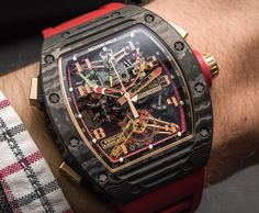 """Richard Mille RM 50-01 G-Sensor Tourbillon Chronograph Watch Hands-On - by Zach Pina - This baby actually packs a G-force sensor! See it at: aBlogtoWatch.com - """"Full disclosure: we didn't exactly get behind the wheel of a Lotus F1 team car and hit the track to put the physics lesson tucked inside Richard Mille's latest creation to the test. But then again, it won't take an eye-watering lap around an undulating course to appreciate the mechanical marvel that is the Richard Mille RM 50-01..."""""""