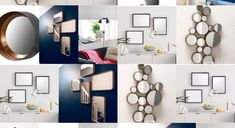 Instead of investing in one large mirror, a selection of small mirrors creates an interesting design feature & suitable for all rooms. Small Mirrors, Mirror Ideas, Cool Designs, Gallery Wall, Room, House, Home Decor, Bedroom, Decoration Home