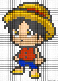 Chibi Luffy One Piece perler bead pattern